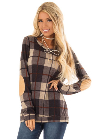 Charcoal Long Sleeve Plaid Top with Faux Suede Elbow Patches front close up