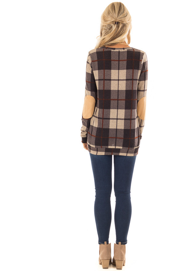 Charcoal Long Sleeve Plaid Top with Faux Suede Elbow Patches back full body