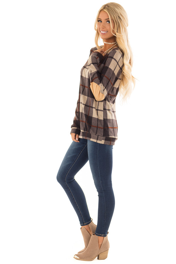 Charcoal Long Sleeve Plaid Top with Faux Suede Elbow Patches side full body