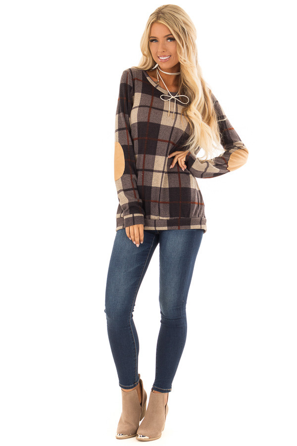 Charcoal Long Sleeve Plaid Top with Faux Suede Elbow Patches front full body