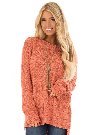Sandstone Long Sleeve Pullover Sweater with Side Slits front close up