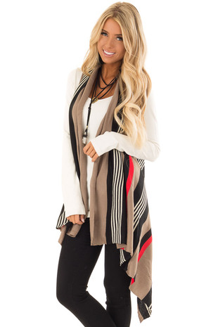 Mocha and Black Striped Sleeveless Asymmetrical Vest front close up