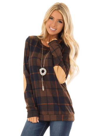 Walnut Plaid Print Sweater with Faux Suede Elbow Patches front close up