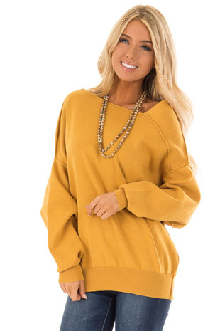 Mustard Long Sleeve Cold Shoulder Sweater with Reverse Seam front close up