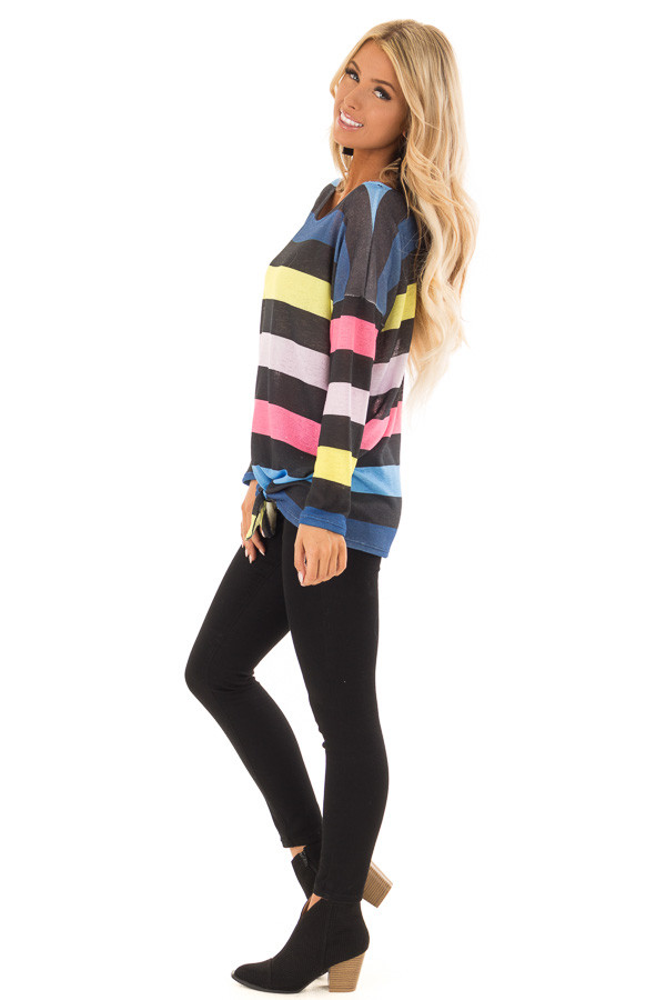 Multi Color Striped Drop Shoulder Sweater with Tied Hemline side full body