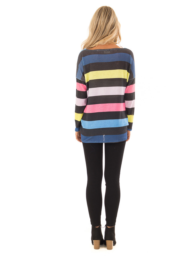 Multi Color Striped Drop Shoulder Sweater with Tied Hemline back full body