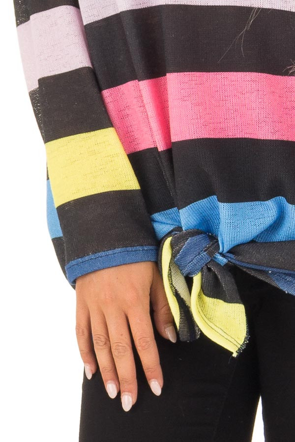 Multi Color Striped Drop Shoulder Sweater with Tied Hemline detail