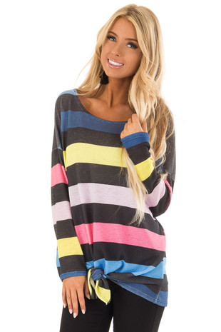Multi Color Striped Drop Shoulder Sweater with Tied Hemline front close up