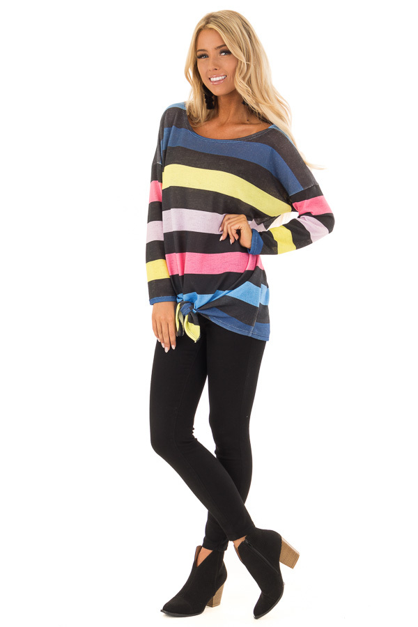 Multi Color Striped Drop Shoulder Sweater with Tied Hemline front full body
