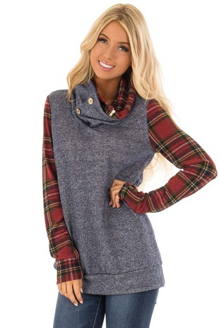 Navy Cowl Neck Top and Scarlet Plaid Contrast front close up