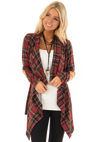 Garnet Red Plaid Waterfall Cardigan with Suede Elbow Patches front close up