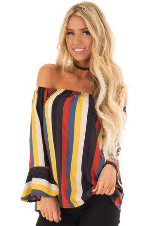Multi Color Stripe Off the Shoulder Top with Trumpet Sleeves front close up