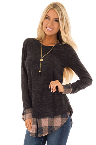 Charcoal Two Tone Long Sleeve Top with Checkered Contrast front close up