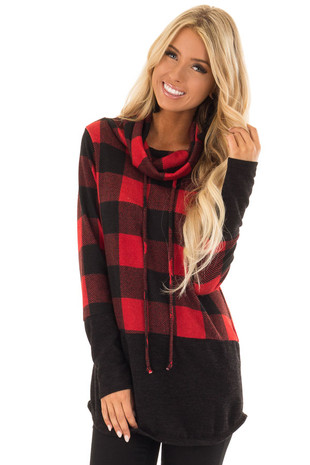 Scarlet Red Buffalo Plaid Cowl Neck Sweater front close up