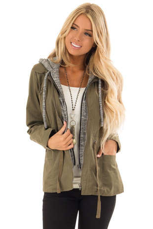 Olive Cargo Hooded Jacket with Heather Grey Contrast front close up