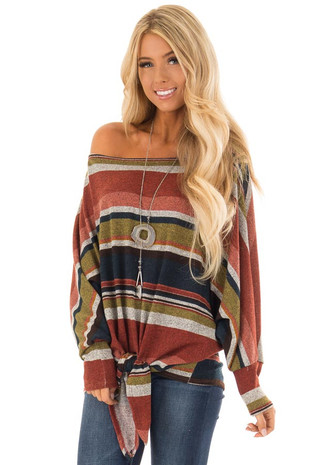 Multi Stripe Top with Dolman Sleeves and Front Tie Detail front close up