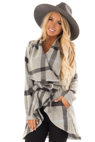 Cloud Grey Plaid Jacket with Waist Tie front close up
