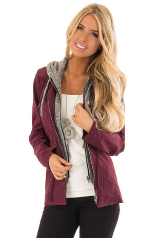 Wine Cargo Hooded Jacket with Heather Grey Contrast front close up