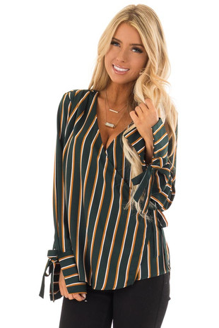 Forest Green Striped Wrap Style Long Sleeve Blouse front close up