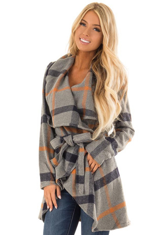 Charcoal Grey Plaid Jacket with Waist Tie front close up