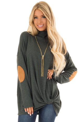 Hunter Green Long Sleeve Top with Suede Elbow Patches front close up