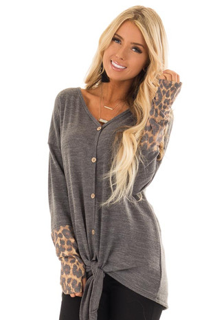 Smokey Grey V Neck Front Tie Top with Leopard Print Contrast front close up