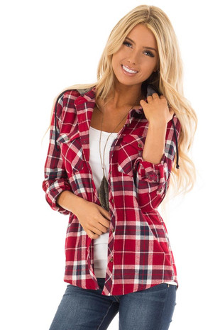 Candy Red Plaid Button Up Long Sleeve Top with Hoodie front close up