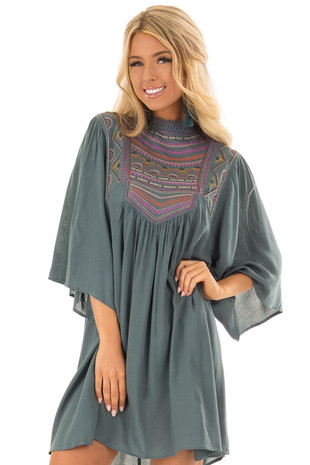 Sea Green Embroidered Dress with Crocheted Mock Neck front close up