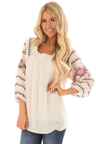 Cream Embroidered Top with Crocheted Square Neckline front close up