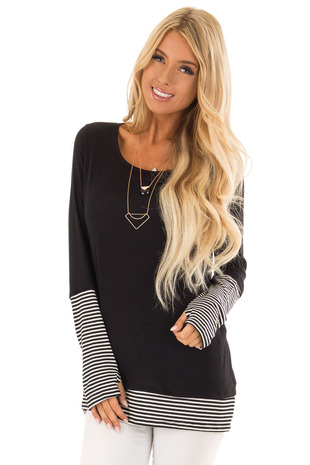 Black Long Sleeve Top with Black and White Stripe Detail front close up