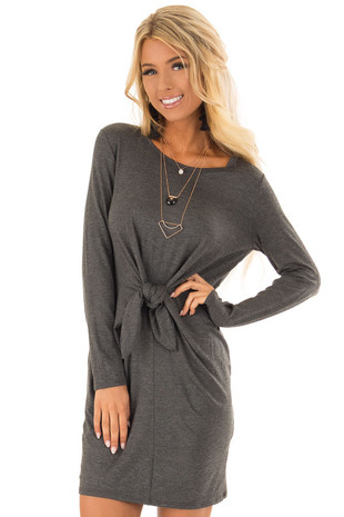 Charcoal Comfy Long Sleeve Dress with Front Tie front close up