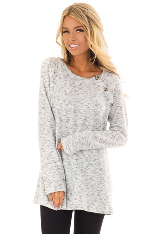 Heather Grey Two Tone Long Sleeve Top with Button Detail front close up