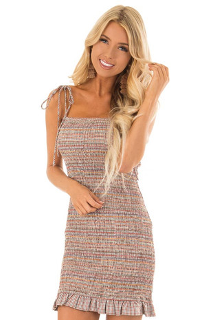 Beige Multicolor Smocked Bodycon Mini Dress front close up