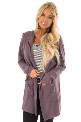 Plum Long Sleeve Open Front Cardigan with Hood front close up