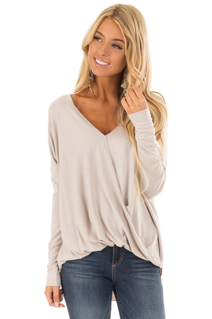 Oatmeal Drop Shoulder Long Sleeve Surplice Top front close up