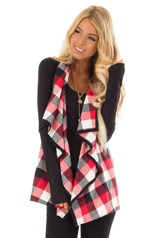 Candy Red Loose Fitting Checkered Vest with Lapel front close up