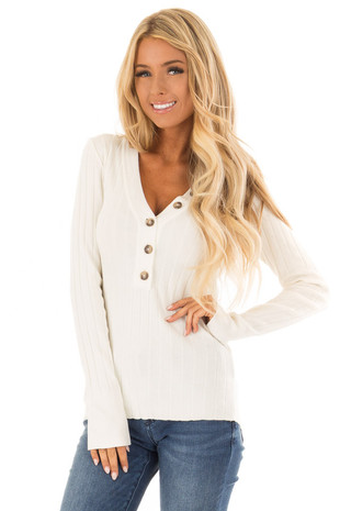 Ivory Ribbed Long Sleeve Top with Button V Neckline front close up