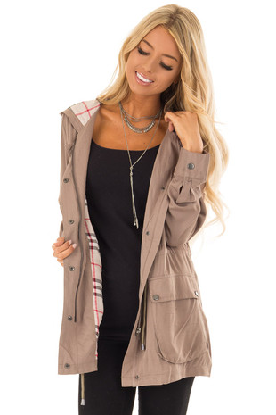 Dusty Olive Lightweight Jacket with Plaid Lining and Hood front close up