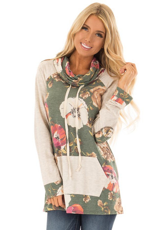Olive Floral Print Contrast Top with Cowl Neckline front close up