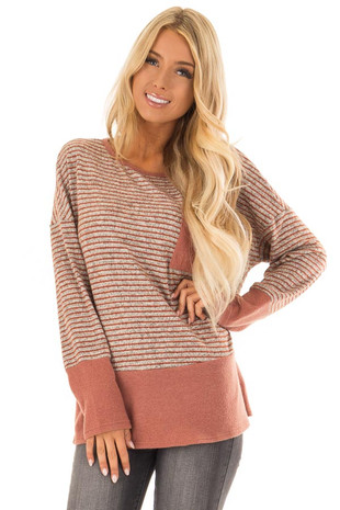 Rust Striped Long Sleeve Top with Solid Hem Detail front close up