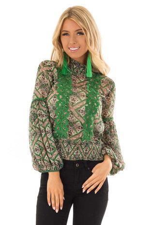 Emerald Sheer Multi Print Blouse with Bishop Sleeves front close up