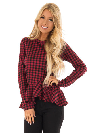 Carmine Plaid Long Sleeve Top with Wrapped Peplum Ruffle front close up