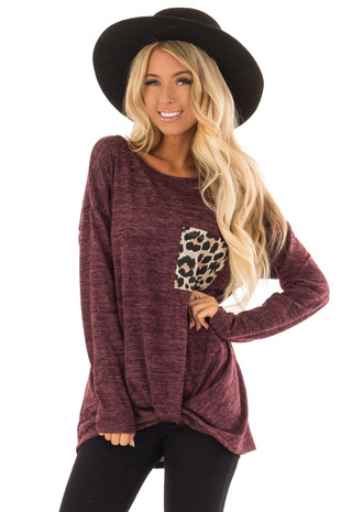 Wine Long Sleeve Top with Front Twist and Leopard Pocket front close up