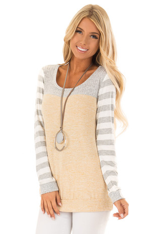 Mustard and Heather Grey Contrast Top with Striped Sleeves front close up