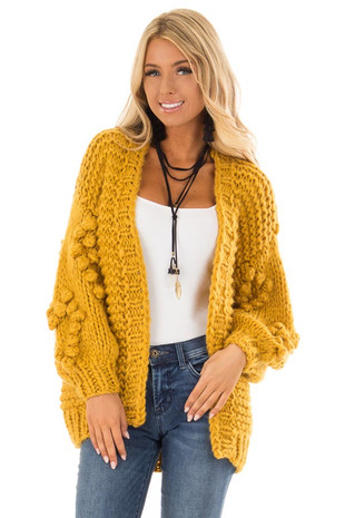 Mustard Comfy Sweater Cardigan front close up