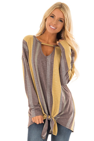 Mustard Striped Long Sleeve Top with Front Keyhole Cutout front close up
