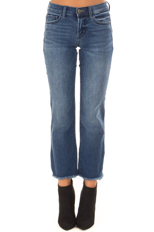 Medium Wash Mid Rise Cropped Flare Jeans with Raw Hem front view