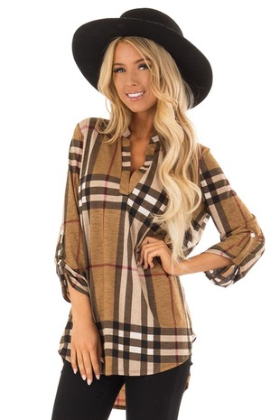 Taupe Checkered Plaid 3/4 Sleeve V Neck Top front close up