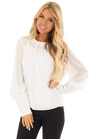 Off White Blouse with Long Puffy Sleeves front close up