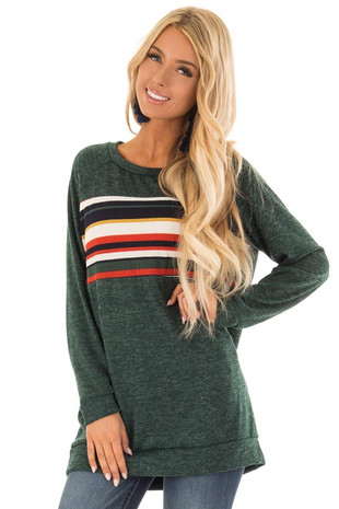 Hunter Green Long Sleeve Top with Color Block Stripe front close up